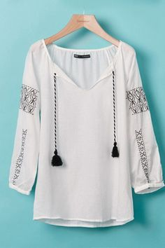 LOVE this Geometric Embroidery Ninth Sleeves T-shirt with tassels!  #tassels #fashion #details