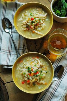 This homemade chicken and rice soup is my secret trick to turning leftover chicken and rice into a delicious second meal! Comes together in under an hour from start to finish. Chili Recipes, Real Food Recipes, Soup Recipes, Chicken Recipes, Cooking Recipes, Healthy Recipes, Delicious Recipes, Crockpot Recipes, Chicken Rice Soup