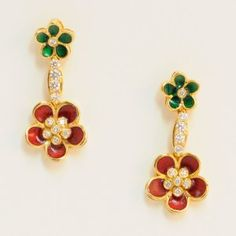 Lot # 8: Charming Diamond & Enamel Flower Earrings.  *NO RESERVE* Gold Rush Pays Auction Rodeo: July 30th at 2pm EST