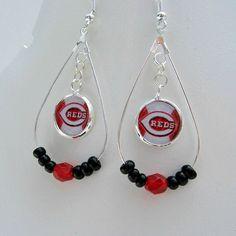 MLB Cincinnati Reds Baseball Earrings by SportsJewelryStudio on Etsy.  $16.50.  etsy.com/shop/sportsjewelrystudio