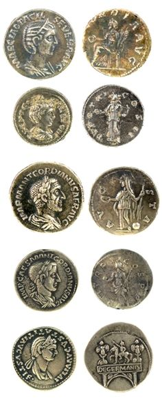 "Ancient Roman silver dinari coins 40397  Silver denari coins with a side portraits and inscriptions to the front and full figures in different poses with inscription to the back. 150 AD (¾"")"