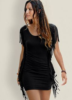Funky fringe! Venus fringe trim dress.