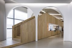 The Folded Arcade - Lukstudio Copper Furniture, Architectural Floor Plans, Veneer Panels, Open Gallery, Wooden Steps, Space Architecture, Facade Design, Built Environment, Family Activities
