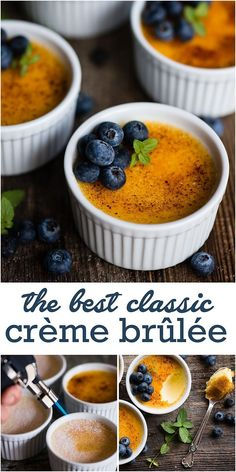 Cr�me Br�l�e, made with just four ingredients, is the best dessert! This rich and creamy classic Cr�me Br�l�e recipe is easy to make too! #cremebrulee #easy #recipe #presentation #vanilla #vanillabean