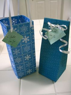 "Tutorial for easy DIY gift bags - using a sheet of scrapbooking paper (theirs is 12"" x 12"")."
