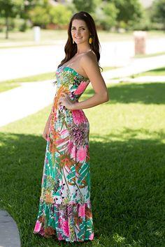 Tropical Oasis Maxi Dress. tropical flower dress, floral maxi, summer dress, summer maxi. by Jane Divine Boutique www.janedivine.com