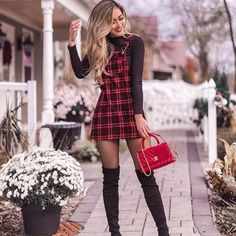 awesome outfit idea to copy right now / plaid sundress black top bag over . - awesome outfit idea to copy right now / plaid sundress black top bag over knee boots Source by - Cute Winter Outfits, Fall Outfits, Cute Outfits For School, Mini Skirt Outfit Winter, College Outfits, Mini Skirt Dress, Mini Skirts, Sexy Skirt, Christmas Fashion Outfits