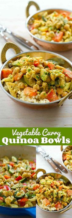 Vegetable Curry Quinoa Bowls…This delicious vegan dish is a fantastic way to get a healthy dose of vegetables in your day! 240 calories and 7 Weight Watchers SmartPoints
