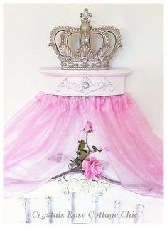 Champagne Fleur de Lis Bed Crown Canopy with Distressed Pale Pink.