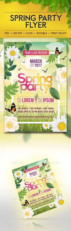 Spring Party Flyer Template v2 Party flyer, Flyer template and - spring flyer template