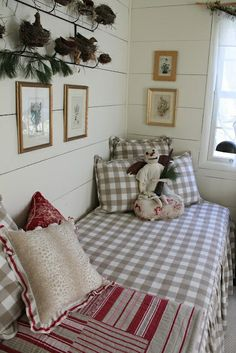 brown gingham day bed - Home Decor Pin Red Cottage, Cottage Living, Cottage Style, Buffalo Check Bedding, Interior Exterior, Interior Design, Sleeping Porch, Sleeping Nook, Estilo Country