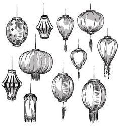Buy Set of Chinese Lanterns by kamenuka on GraphicRiver. Set of Chinese lanterns, hand drawn. Chinese Painting, Chinese Art, Lantern Drawing, Chinese Drawings, Bullet Journal Inspiration, Cute Drawings, Asian Art, Japanese Art, Doodle Art