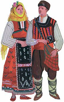 spring garb young women from Dobrich (left), a young man costume from Silistra (right) Bulgaria