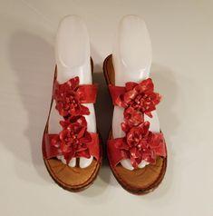265b133a7cbf BORN Women s Red Coral Flower Shoes Sandals Wedges Heels Size 7M 38 EU  Brn