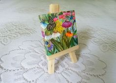 Butterflies on mini canvas and easel included by JudesTinyArt