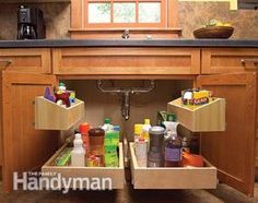 The kitchen sink cabinet is usually wasted space but it doesn't have to be! Here's Family Handyman's step-by-step instructions on how to build under-sink roll-out trays. It's time to get organized and make the most of your space!