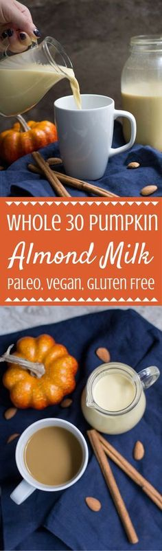 Want to join in on the fall fun while still eating healthy? Try this Whole 30 Pumpkin Almond Milk Recipe. Perfect for using in coffee or smoothies! | whole 30 | whole 30 recipe | whole 30 pumpkin recipe | whole 30 almond milk recipe | whole 30 pumpkin spi