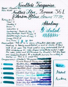 Noodlers Turquoise ink