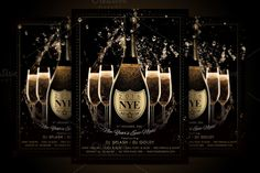 NYE New Year Flyer - Champagne Night by Ade Concept on Creative Market