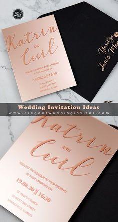 Modern Rose Gold Calligraphy Mirror Acrylic Wedding Invitations