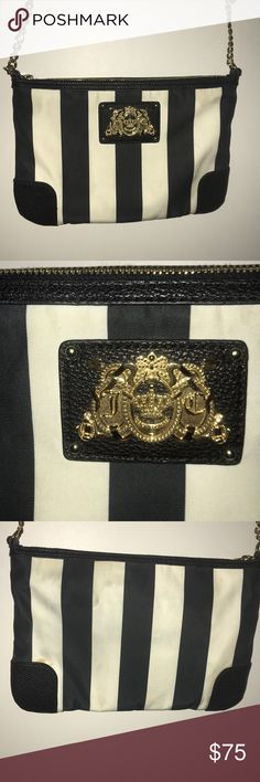 Juicy Couture crossbody Juicy couture Malibu Nylon Collection crossbody bag with gold hardwear has some stains as seen in pictures in the back of the bag Juicy Couture Bags Crossbody Bags