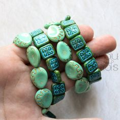 Czech Glass Beads Carved Drop Beads Carved Square by KanduBeads
