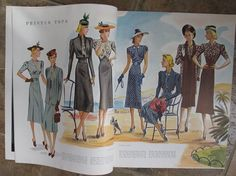 McCall Fashion Book, Summer 1938 featuring McCall 9683 and 9682 on the left page, 9655 and 9656 on the right page