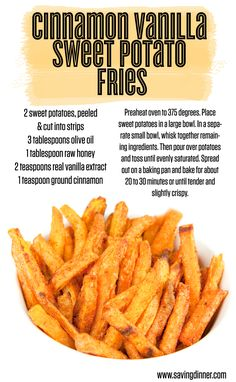 Sweet Cinnamon Vanilla Sweet Potato Fries #food #paleo #glutenfree
