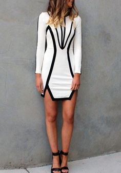 White Geometric Hollow-out Irregular Long Sleeve Dress