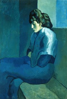 """Pablo Picasso. """"Femme assise"""". #art #blue #painting"""