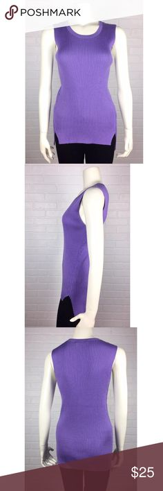 """Lauren Ralph Lauren Sleeveless Purple Sweater Top Sleeveless and streamlined, this cotton-blend sweater has an asymmetrical hem that enhances its contemporary allure.  Details Delicate ribbed finish  Sleeveless Slim fit Crew neckline Vented hem falls lower at the back Designer Color: Purple Made in China Excellent Condition: No marks, scratches, rips or tears. Original Designer Tags Attached Measurements Bust approx.: 36"""" Sleeveless opening approx.: 8"""" Front Body Length approx.: 25"""" Back…"""