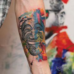 "Korean Mask ""하회탈"" - #타투 #그라피투 #타투이스트리버 #디자인 #그림 #디자인 #아트 #일러스트 #tattoo #graffittoo #tattooistRiver #design #painting #drawing #art #Korea #KoreaTattoo #하회탈 #한국타투 #koreanmask"