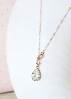 Rose Gold Cubic Zirconia Teardrop and Mini Infinity Lariat, Y Necklace, sister, best friends, mom, bridesmaid necklace, rose gold weddings, by ColorMeMissy on Etsy, www.colormemissy.com