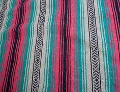 Vintage Mexican Blanket Pink Teal Tribal by BarryVintage on Etsy