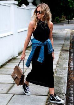.black maxi dress with converse sneakers