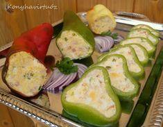 Konyhavirtuóz: Hideg töltött paprika Zucchini, Vegetables, Food, Essen, Vegetable Recipes, Meals, Yemek, Veggies, Eten