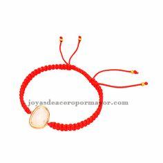 pulseras tejidas moda en color rojo con piedra cristal para mujer ACBTG00022