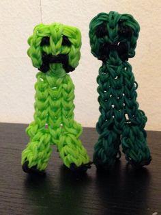 Rainbow loom minecraft 3D creepers