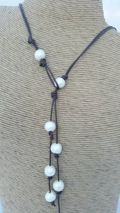 Pearl Leather Lariat necklace -zRustic boho Leather necklace - Bohemian necklace…