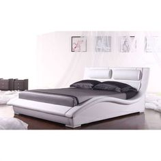 Add a new style to your bedroom with this King size Modern White Faux Leather Platform Bed with Headboard. This stylish bed features an artistic expression in the contemporary furniture design. The cr Leather Platform Bed, Platform Bed Frame, Leather Bed, White Headboard, Bedroom Furniture Design, Furniture Ideas, Stylish Beds, Sofa Styling, Headboards For Beds