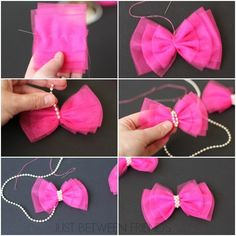 Cute and Easy Valentine Hair Bow Tutorial - Bakerette Tulle Hair Bow Tutorial--I have so much leftover tulle from that skirt I made! Valentine Hair Bow Tutorial by Jonie at Just-Between-Friends. Pinwheel bow or clip - Salvabrani Tulle Hair Bows, Diy Hair Bows, Ribbon Bows, Hair Ribbons, Ribbon Flower, Pink Tulle, Ribbon Hair, Tulle Crafts, Ribbon Crafts