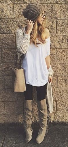 how to style a knit cardigan : white t-shirt + bag + skinnies + over knee boots