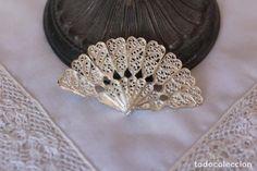 MUY BELLO BROCHE ABANICO DE FILIGRANA EN PLATA 5,5 X 3 CM Bellisima, Crown, Antiques, Jewelry, Fashion, Quilling, Pendants, Silver, Antiquities
