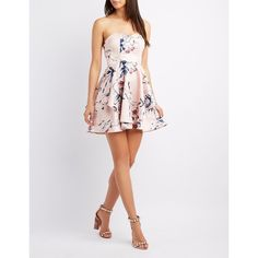 Charlotte Russe Floral Strapless Skater Dress ($32) ❤ liked on Polyvore featuring dresses, multi, bridesmaid dresses, white a line dress, white strapless dress, floral cocktail dresses and floral bridesmaid dresses