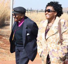 Archbishop Emeritus Desmond Tutu and his daughter Nonthombi Tutu arrive at Maropeng on July 31