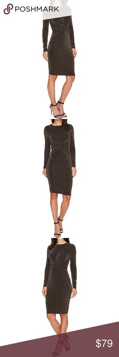 MICHAEL KORS LONG SLEEVE TWIST WAIST DRESS A twisted design at front adds a striking finish to this dazzling MICHAEL Michael Kors® dress. Crafted from a stretchy nylon blend, featuring metallic striping throughout.  DETAILS: Figure-hugging silhouette. Round neckline. Long sleeves. Concealed-zipper closure at back. Straight hemline. Unlined. 85% nylon, 8% elastane, 7% metallic. Machine wash cold, dry flat. Imported. Product measurements were taken using size SM. Measurements: Length: 40 in…