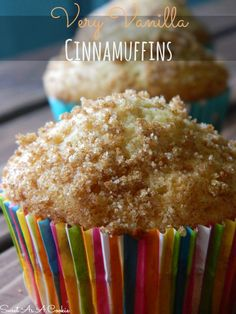 Very Vanilla Cinnamuffins | A moist vanilla muffin topped with a cinnamon sugar mix sweetasacookie.com