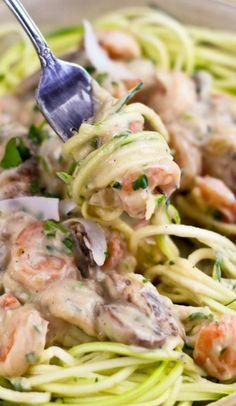 Creamy Coconut Shrimp over Zucchini Pasta