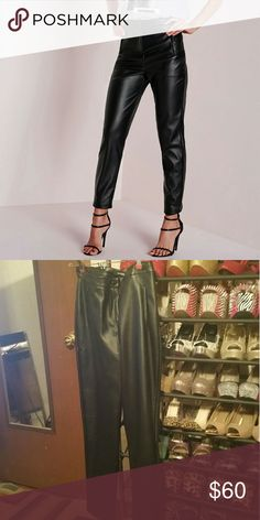 Missguided faux leather cigarette trousers Brand new with tags, amazing quality looks like real leather! These are super high waisted. Missguided Pants Trousers