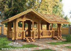 nice one :) Garage Pergola, Log Cabin Homes, Log Cabins, House In The Woods, Pavilion, Gazebo, Construction, Outdoor Structures, House Styles